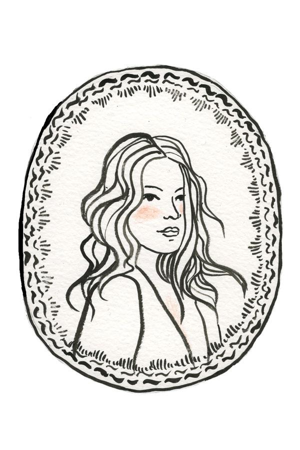 ilustração, mulher, parisiense, medalhão