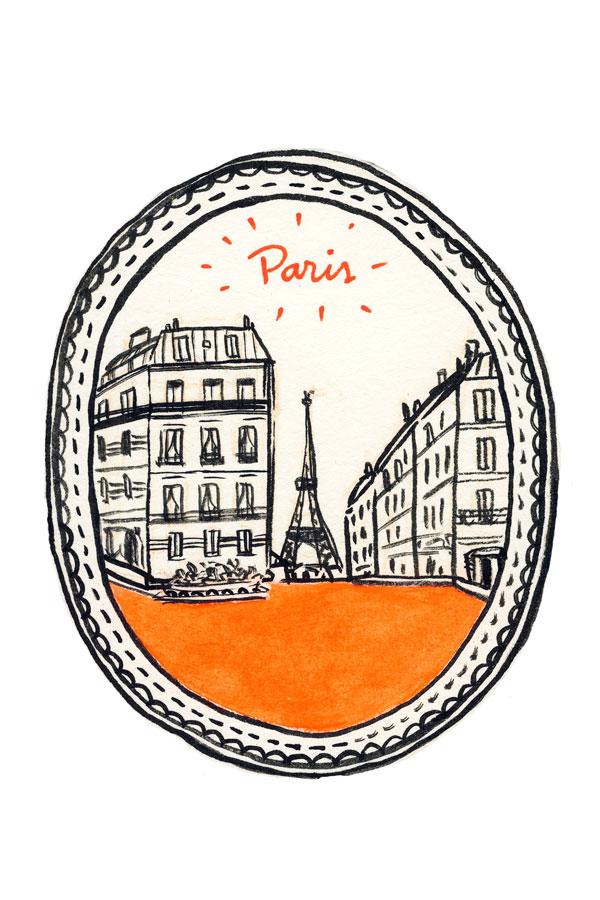 Desenho, rua de Paris, Torre Eiffel