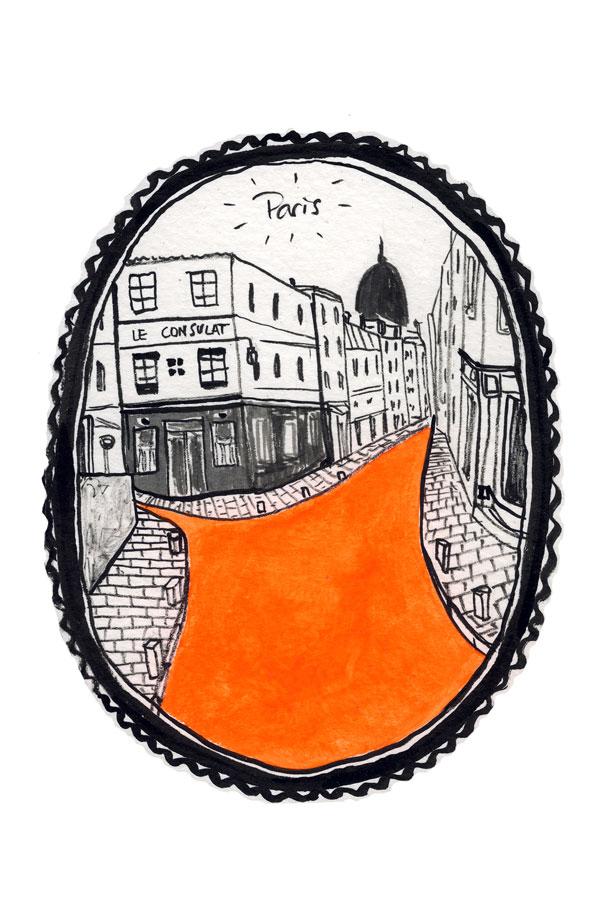 Desenho rua de Paris, Montmartre