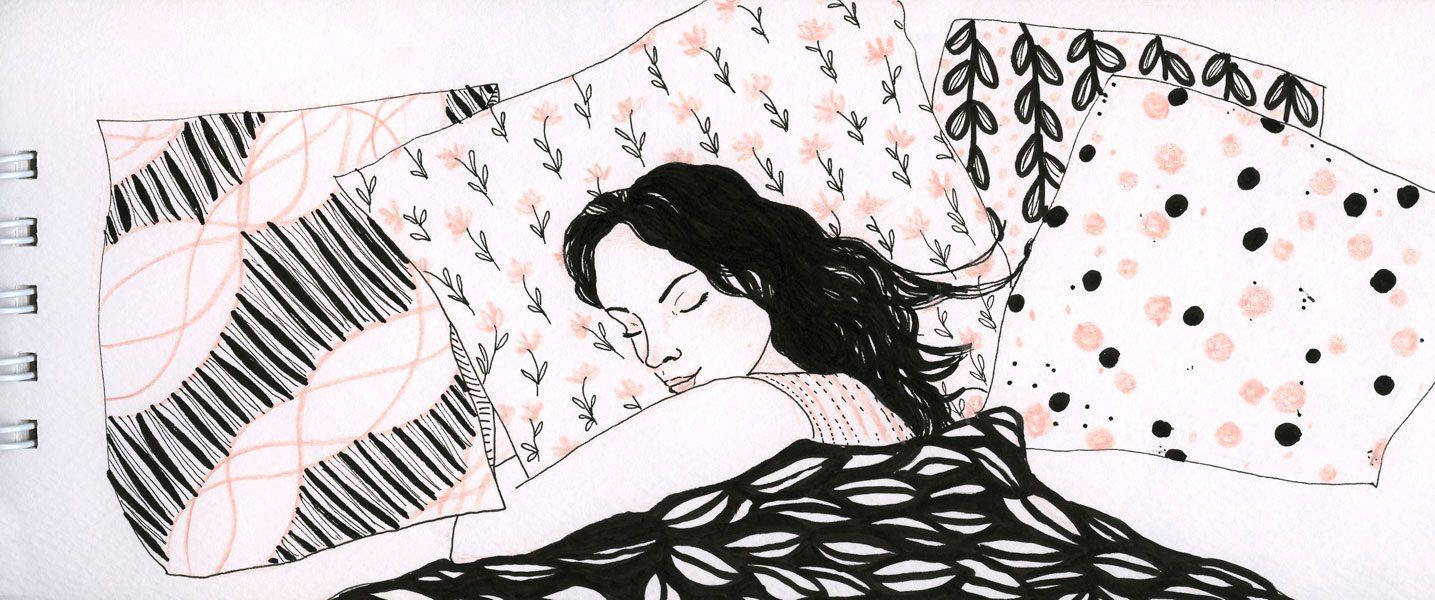 """Dessin de la série """"Tous les matins du monde"""". Une femme dort sur son lit."""