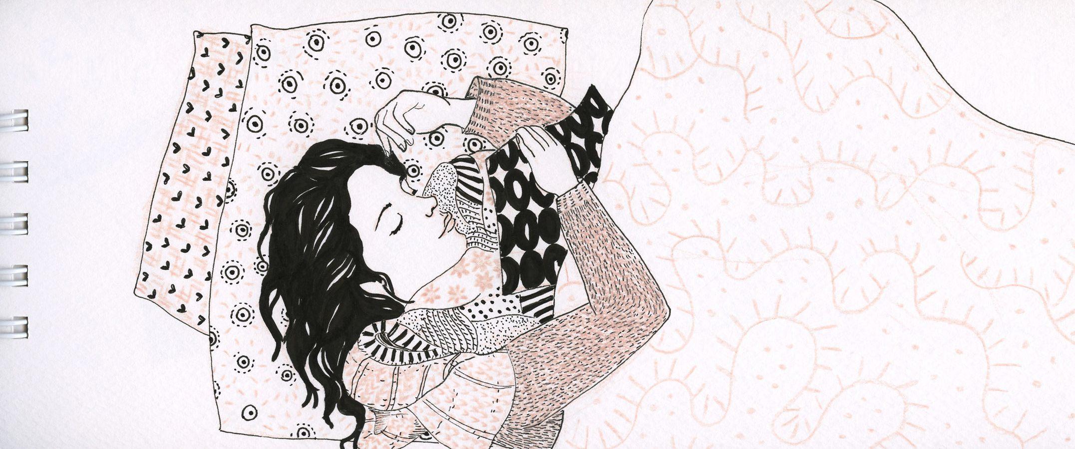 Ilustração, uma mulher dormindo
