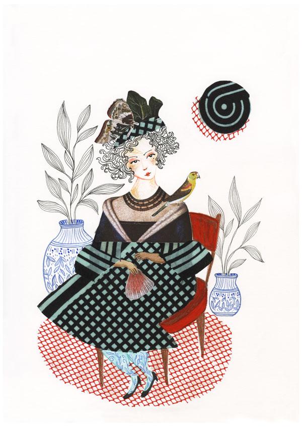 Dessin et collage: Une femme assise sur une chaise, un oiseau sur son épaule et un évantail à la main