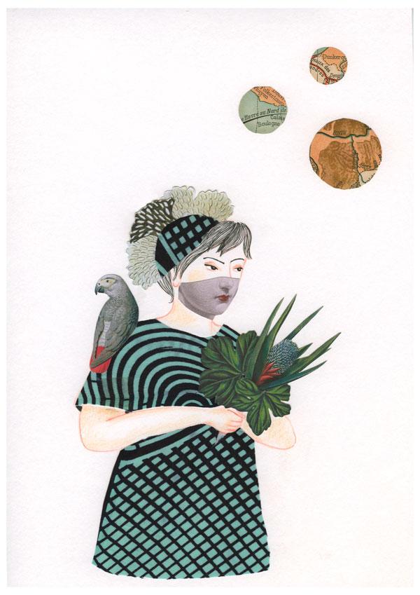 Dessin et collage: une femme porte un bouquet végetal avec un perroquet gris sur son épaule