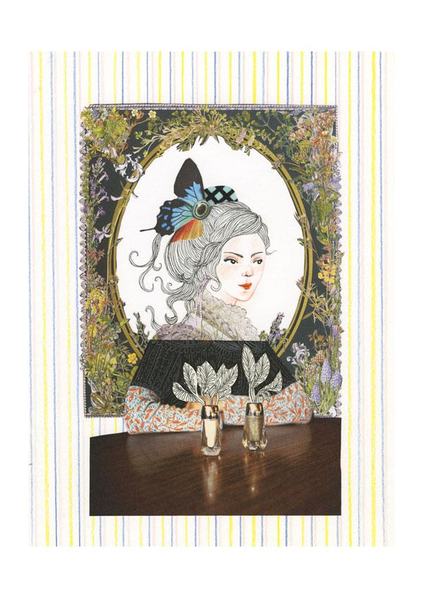 Dessin et collage: une femme assise, bras croisés sur une table. Au fond, un cadre au tour du personnage et papier peint