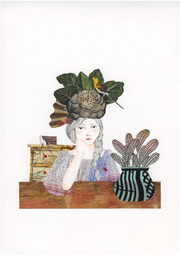 Ilustração, mulher sentada atras de uma mesa, com mão na cabeça e um chapéu extravagante com couve flor e pássaro na cabeça
