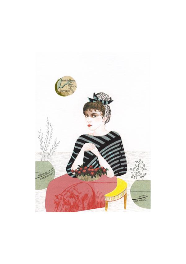 Dessin et collage: une femme assise avec un panier de fruits rouges sur ses genoux