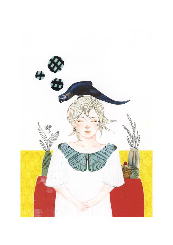 Dessin et collage: une femme debout, les yeux fermés avec un perroquet bleu sur la tête