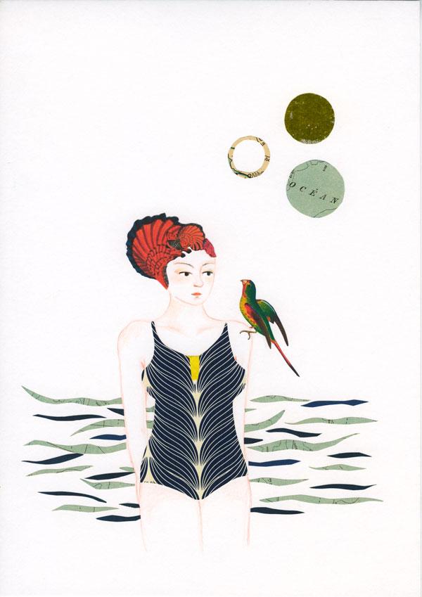 Dessin et collage: une femme en maillot et bonet de bain sort de l'au avec un oiseau sur son épaule