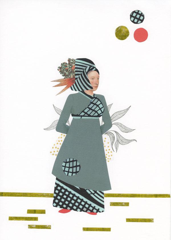 Dessin et collage: une femme porte une longue robe et un chapeau de tissu africain. Elle porte un panier tenu par ses mains derrière son dos.