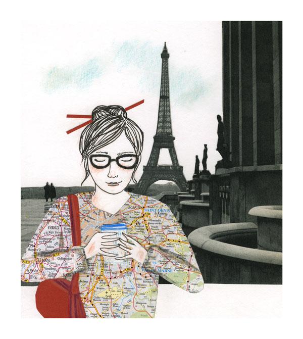 Ilustração: uma mulher em Paris, torre Eiffel ao fundo