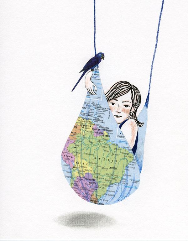 Ilustração, Mulher deitada numa rede com o mapa do Brasil estampado