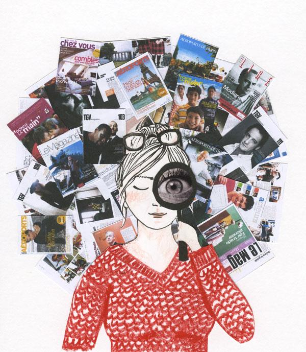 Ilustração, uma mulher olha por uma lupa. Atras dela, muitas revistas formam mum mural