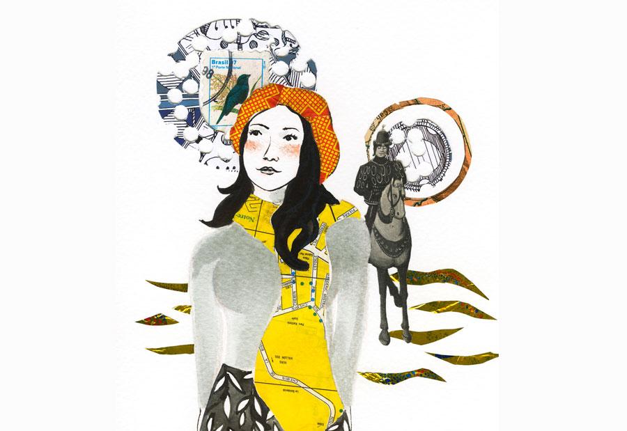 ilustração mulher pensativa e um principe montado à cavalo ao fundo - colagem