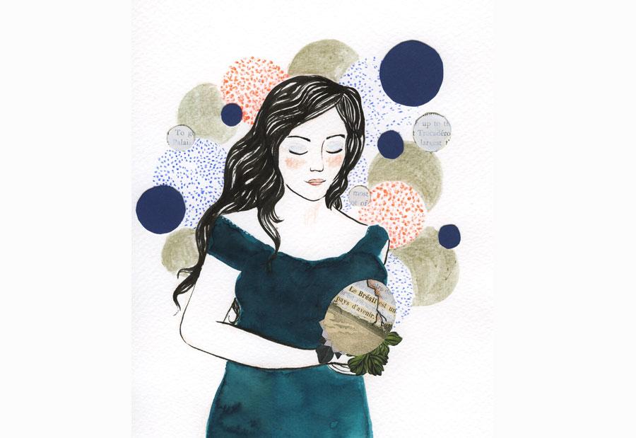 """ilustração mulher olhos fechados trazendo nas mãos um objeto frágil trincado onde se lê: """"Brasil pais do futuro"""" em francês"""