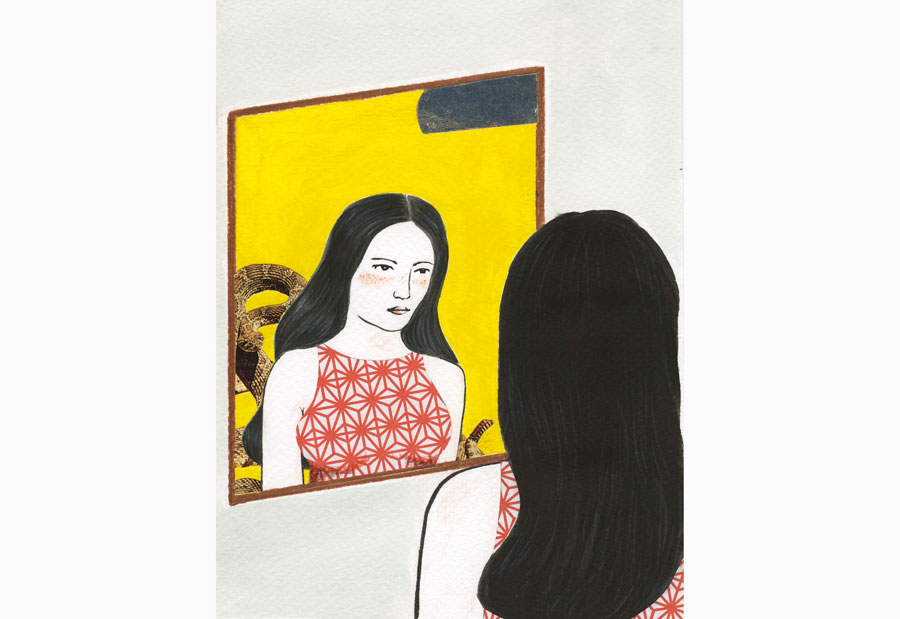 ilustração: mulher olhando no espelho e reflexo de uma cobra por trás dela.