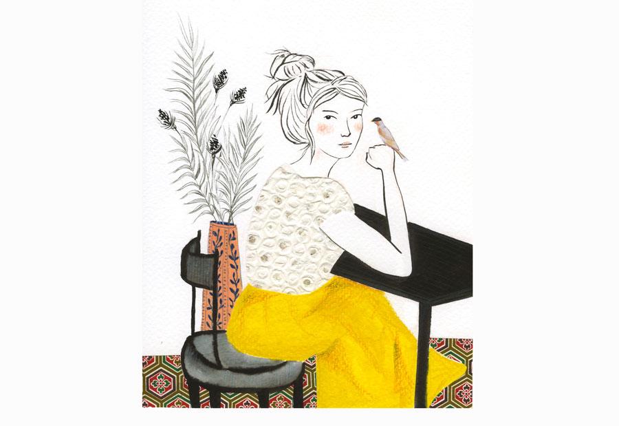 ilustração: mulher sentada olhando, para o observador, com um passarinho na mão.