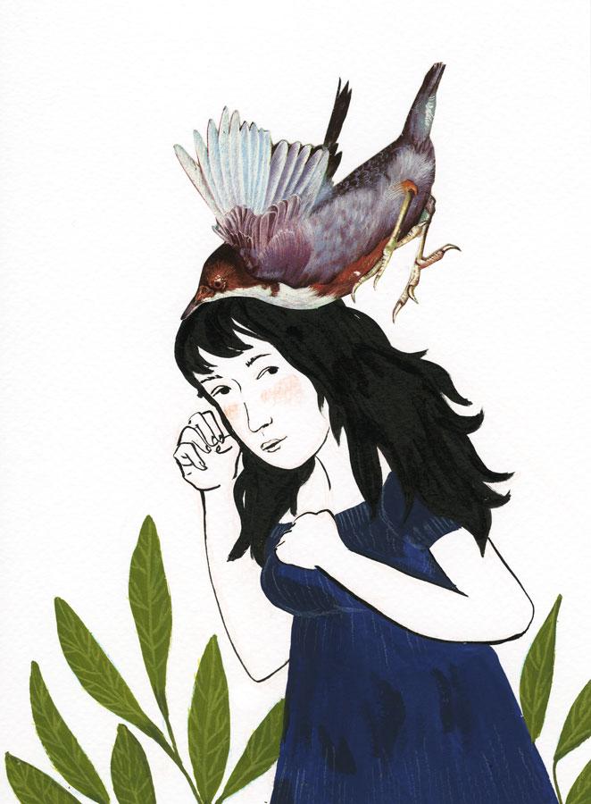 ilustração mulher em posição de luta e um pássaro em sua cabeça como se fosse ataca-la
