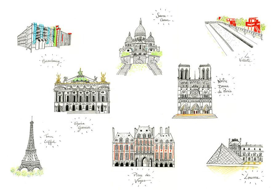 ilustração monumentos de Paris: Louvre, Beaubourg, Torre Eiffel, Place des Voges, Notre-Dame, La Villette, Sacre-coeur