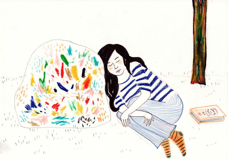 ilustração mulher dormindo