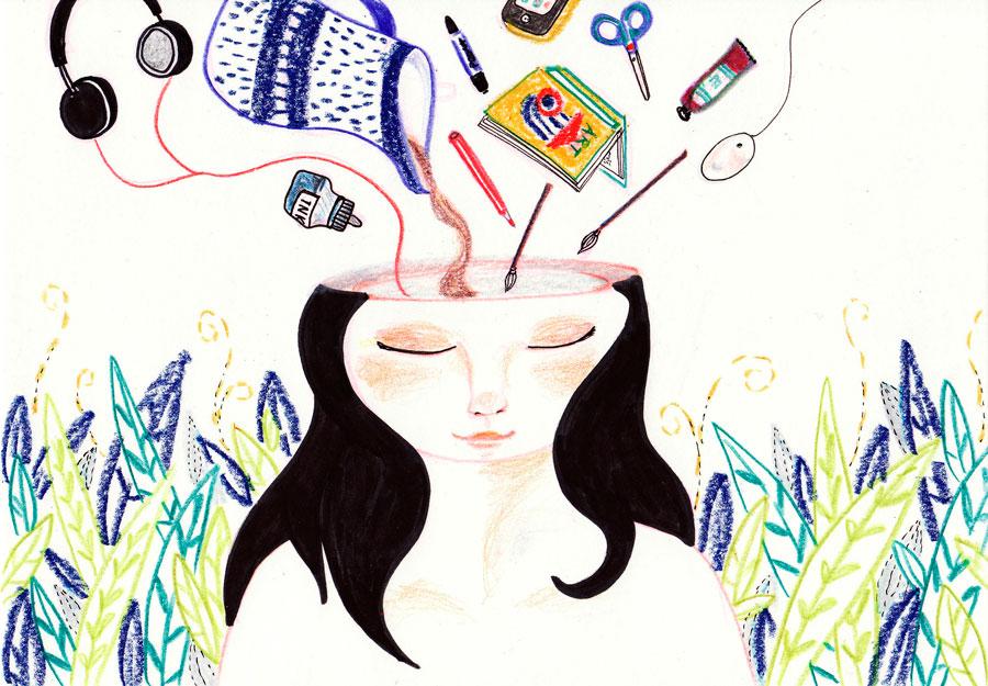 ilustração mulher cabeça aberta recebendo idéias, objetos, inspirações
