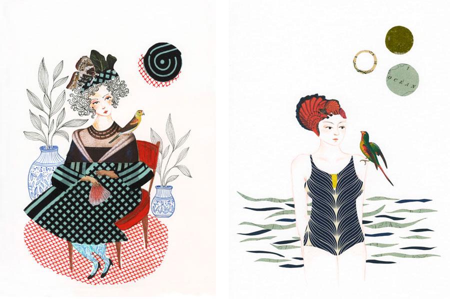 ilustrações mulheres e colagem