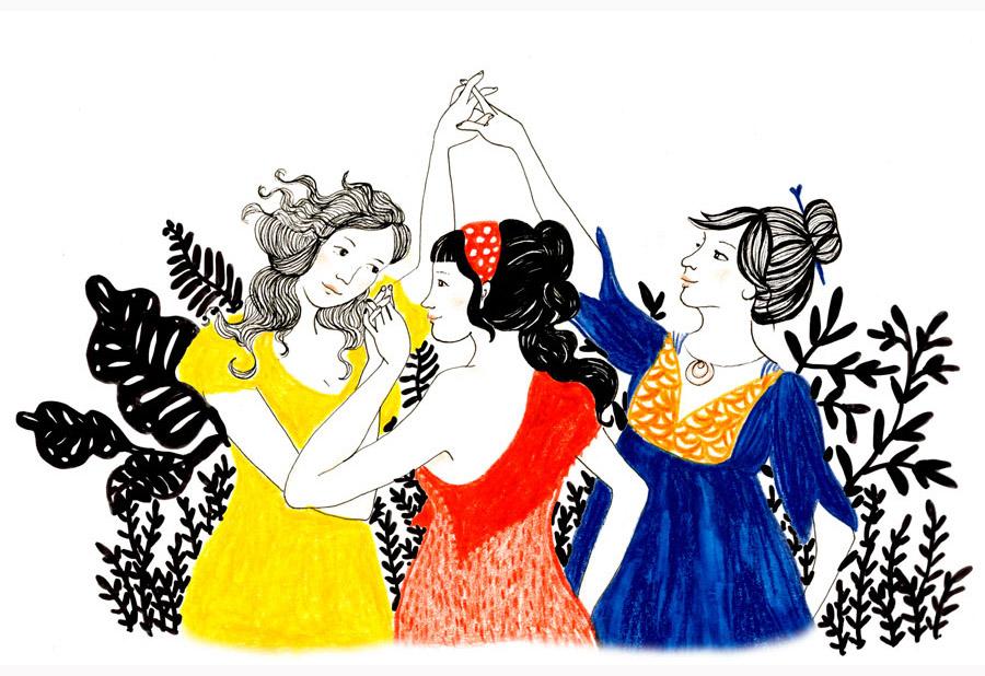 Ilustração 3 mulheres inspirada nas 3 graças de Botticele