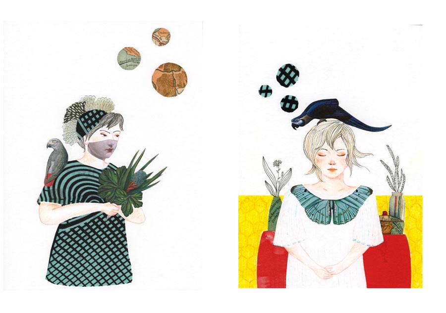 ilustração mulheres e colagem