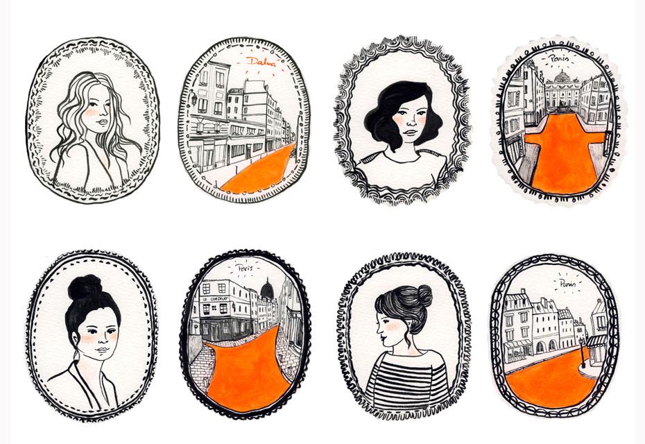 Illustration: médaillons femmes et Paris