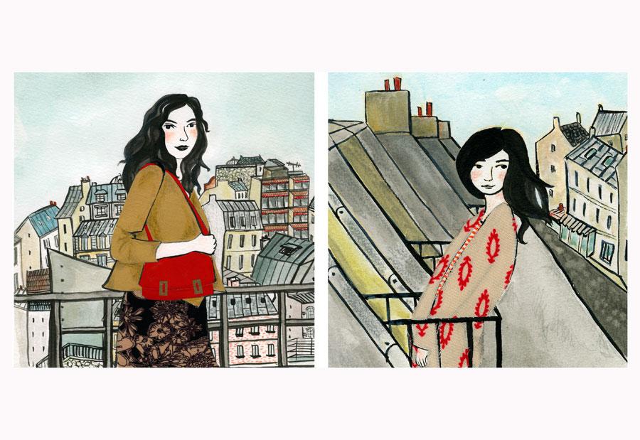 ilustração mulheres parisienses