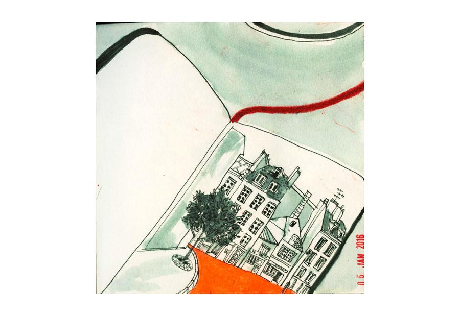"""Illustration: carnet """"un dessin par jour"""" Paris"""