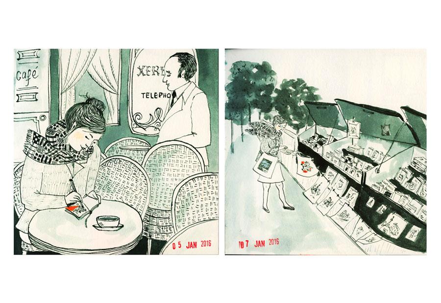 """Illustration carnet """"un dessin par jour"""" Paris"""