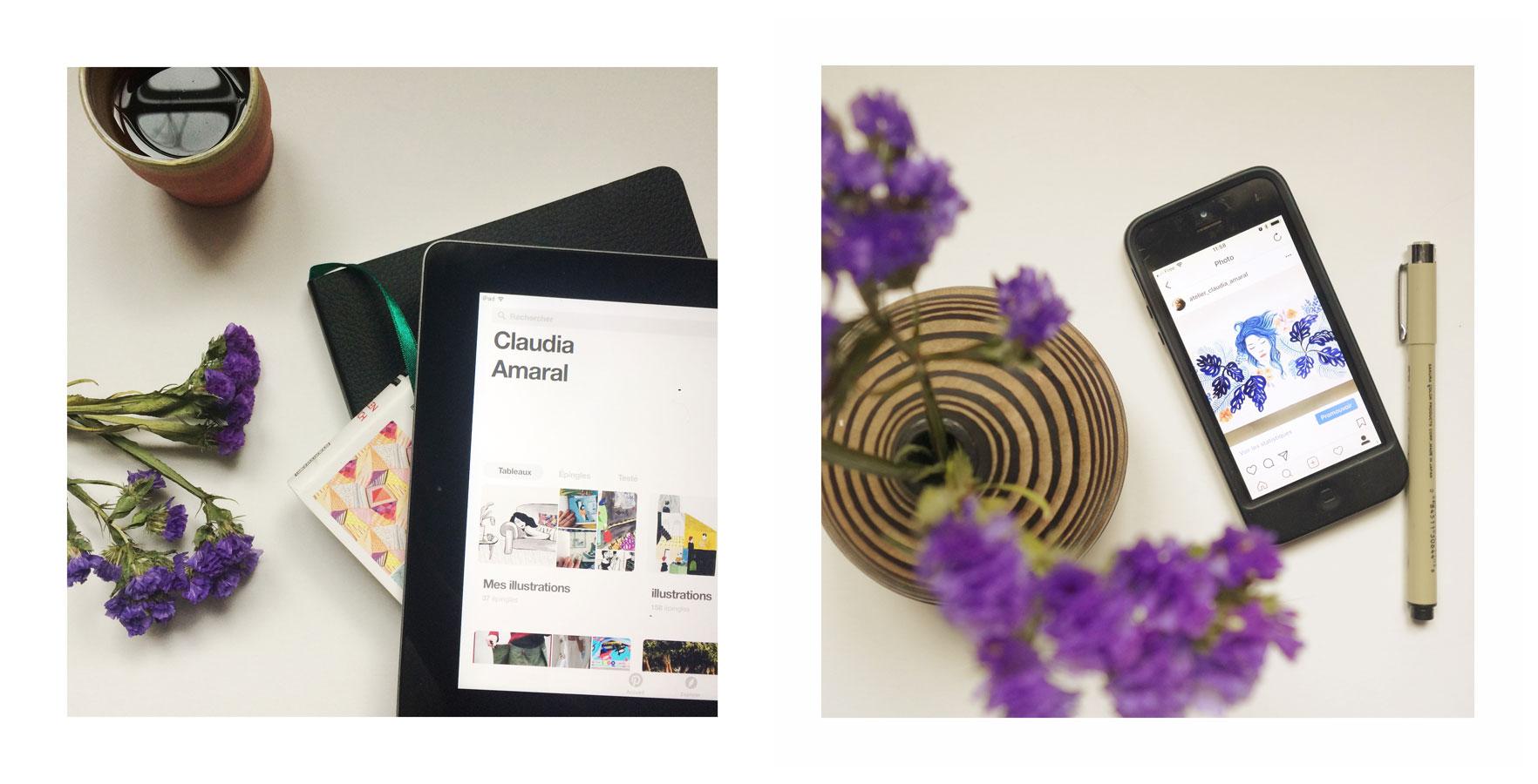 Une tablet et un smartphone affichant les réseaux sociaux de l'atelier Claudia Amaral