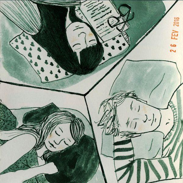 dessin: trois personnes endormies