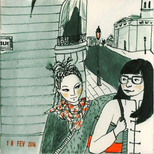 dessin: deux copines à Paris