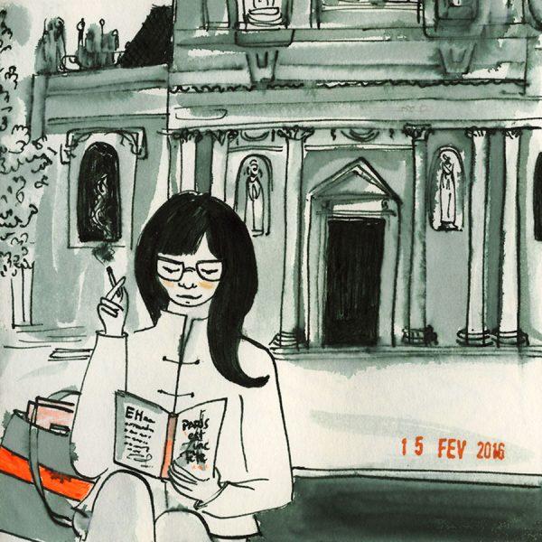 dessin: une jeune fille lit, cigarette à la main devant la Sorbonne