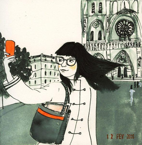 dessin: une fille fait un selfie en face Notre-Dame