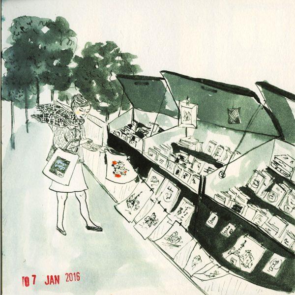dessin, une femme sur les quais de Seine chez un bouquiniste