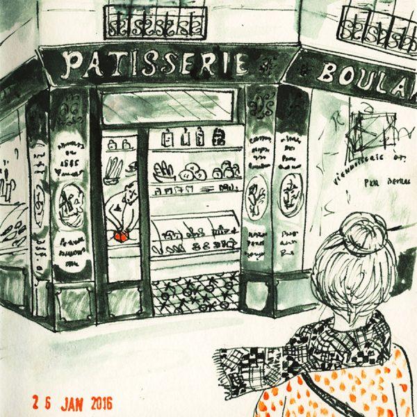 dessin, une femme en face une pâtisserie