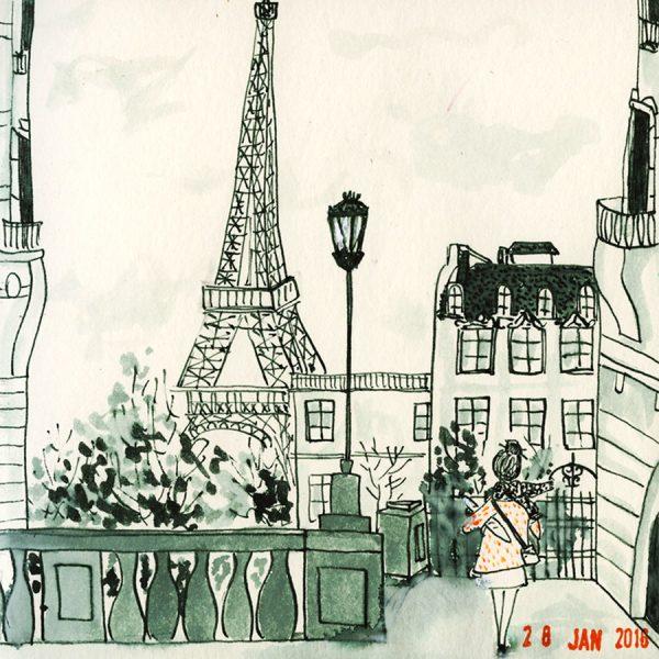 dessin une femme à Paris, tour eiffel