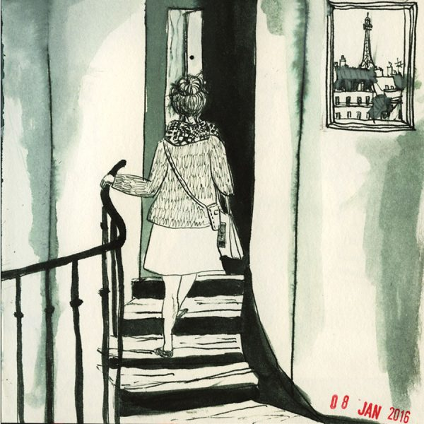 dessin, une femme rentre chez elle