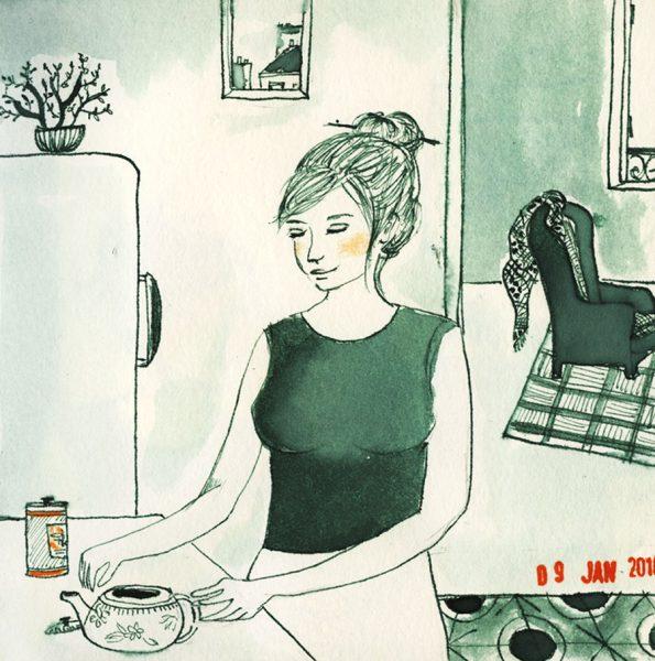 dessin: une femme fait du thé