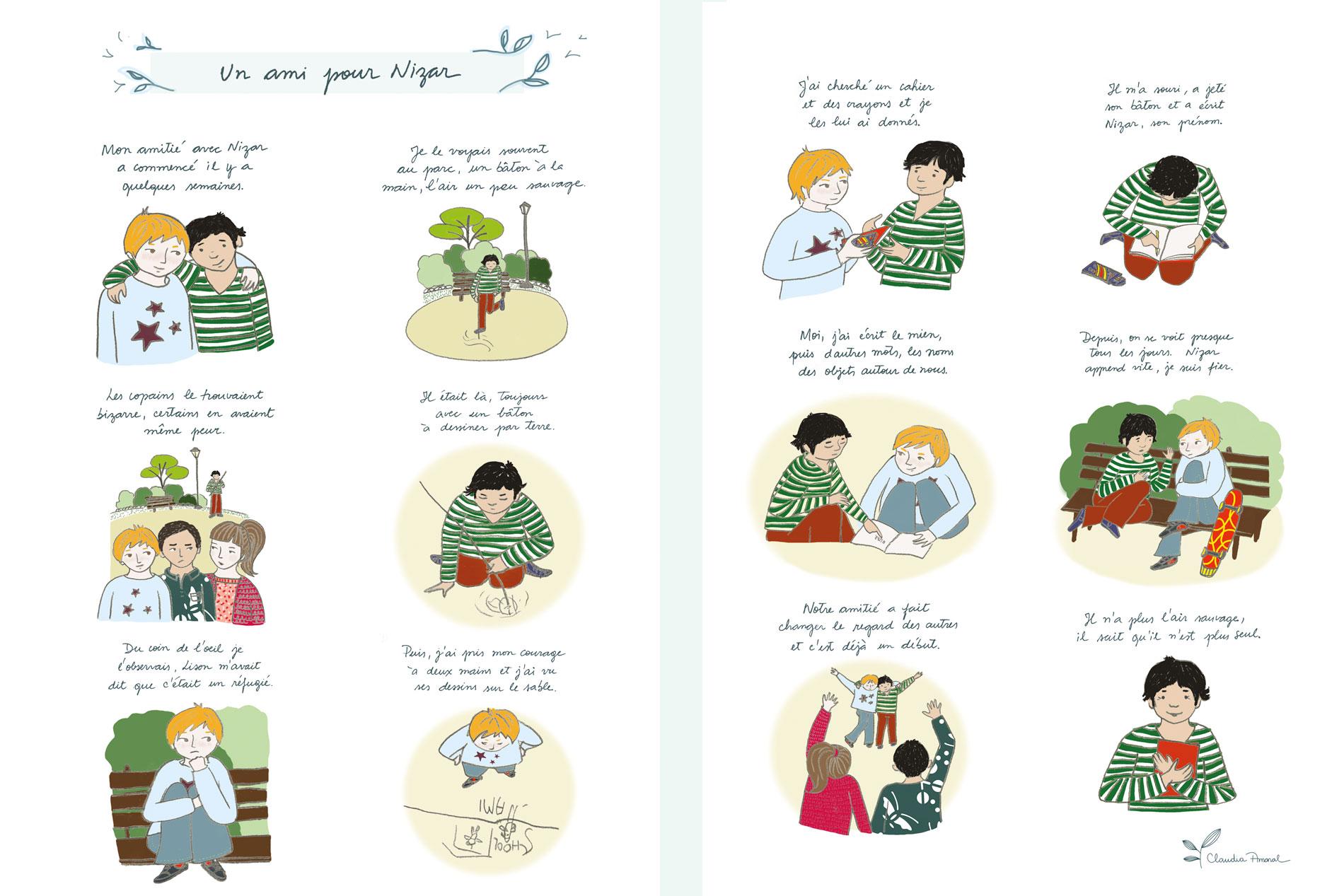 Histoires écrites et illustrées par Claudia Amaral pour le magazine Regard Bouddhiste