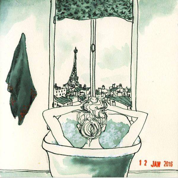 dessin: une femme prends son bain, de la fenêtre on voit la tour eiffel
