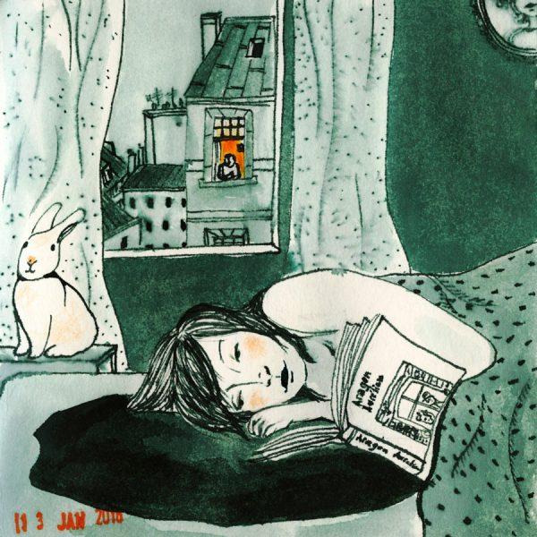 dessin: une femme dans li dans son lit
