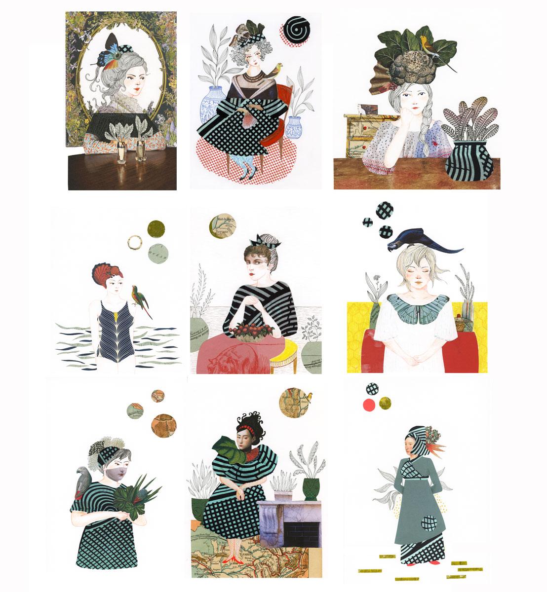 femmes collage et dessin