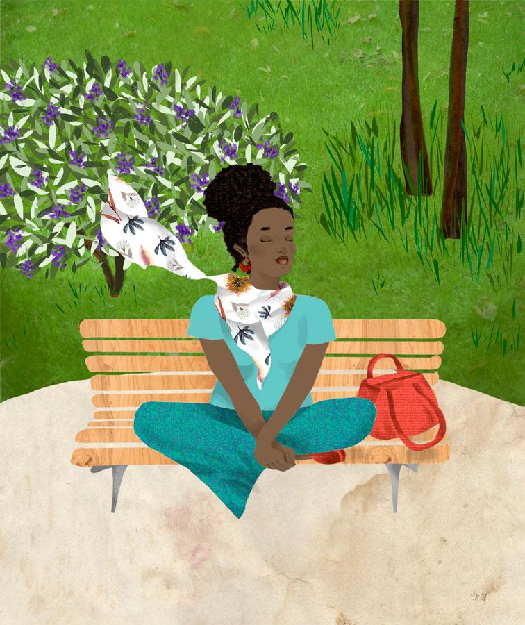 Gaia serena de olhos fechado esta sentada num banco do parque