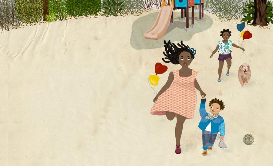Gaïa e seus irmãos correm no parque