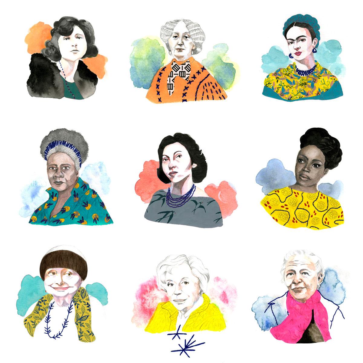 portraits écrivains - dessin et broderie