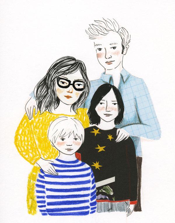 Illustration: Famille, un couple et deux garçons