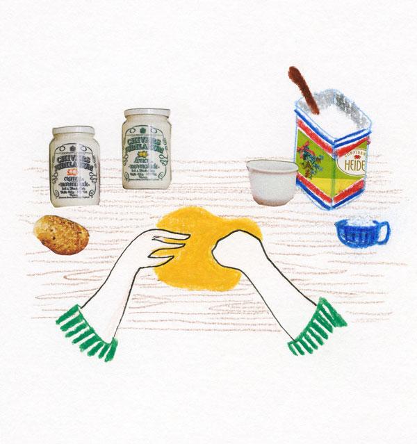 sur une table, une main pétri le pain, illustration